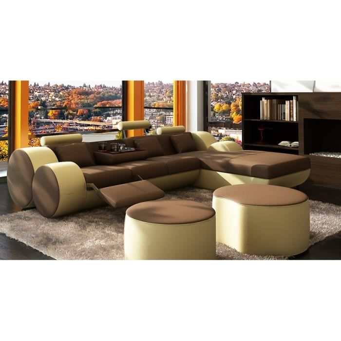 canap d 39 angle relax cuir marron et beige mari achat vente canap sofa divan cdiscount. Black Bedroom Furniture Sets. Home Design Ideas