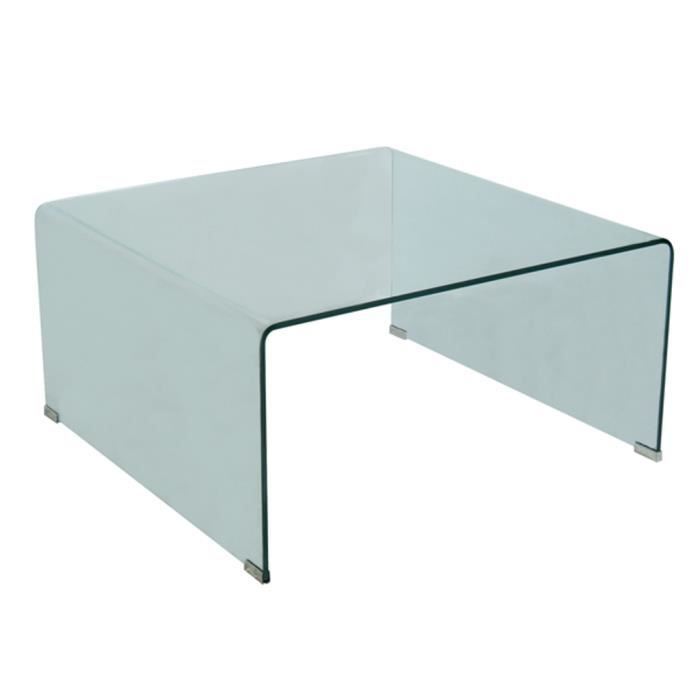 Table basse table basse carr e en verre for Table basse verre carree