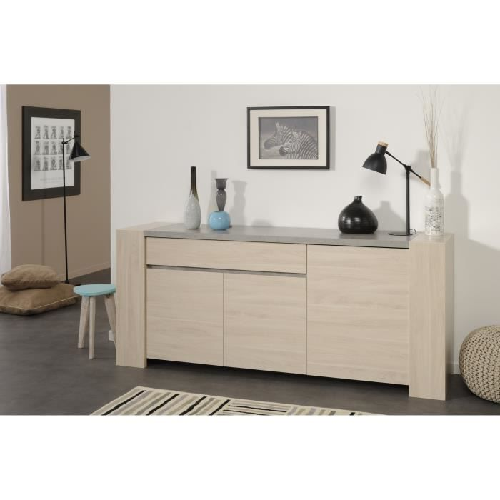 groove enfilade 200 cm d cor ch ne s same et b ton clair achat vente buffet bahut groove. Black Bedroom Furniture Sets. Home Design Ideas