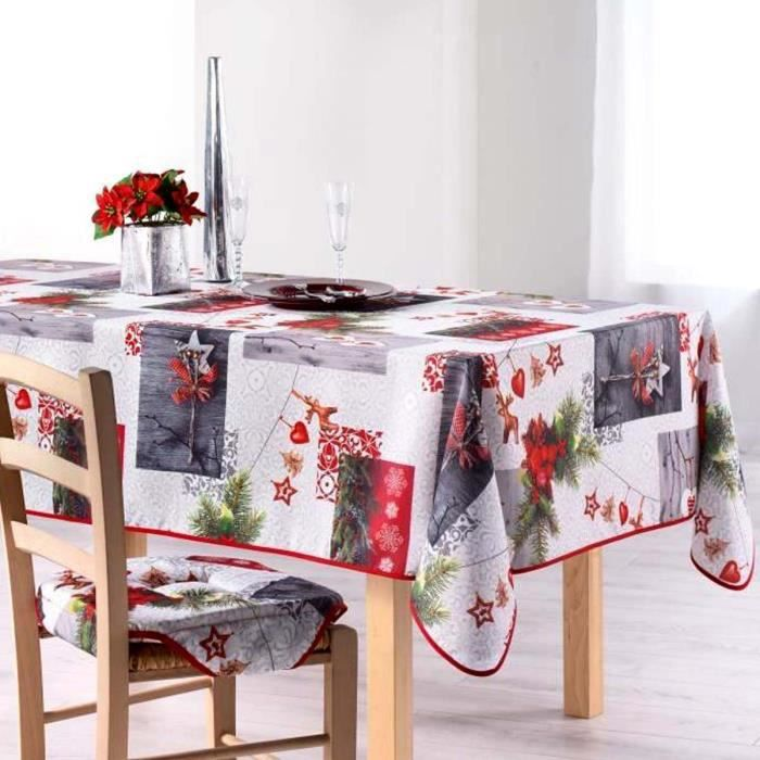 nappe noel anti tache achat vente pas cher. Black Bedroom Furniture Sets. Home Design Ideas