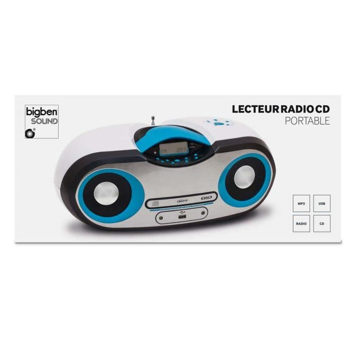 lecteur cd radio mp3 usb portable blanc et bleu radio cd. Black Bedroom Furniture Sets. Home Design Ideas