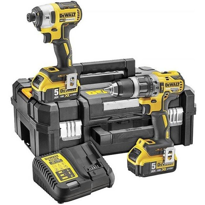 DEWALT Perceuse visseuse à percussion DCK266P2T - Visseuse à chocs - 2 batteries 5 Ah Li-ion - Coffret Tstak