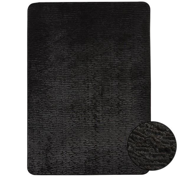 tapis en fausse fourrure noir wild par home spi achat. Black Bedroom Furniture Sets. Home Design Ideas