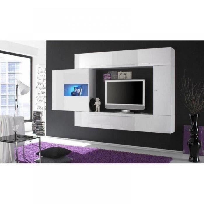 composition murale tv design primera 4 blanc br achat vente meuble tv composition murale. Black Bedroom Furniture Sets. Home Design Ideas