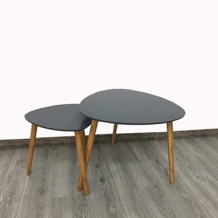 lot de 2 tables basses gigognes style scandinave grises achat vente table basse lot de 2. Black Bedroom Furniture Sets. Home Design Ideas