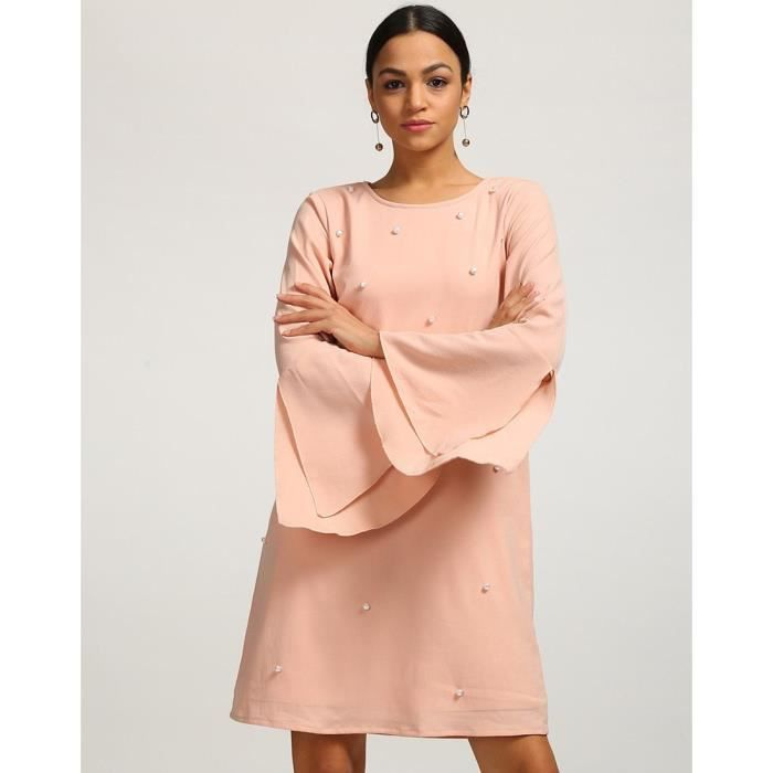 Trendtwo Rose Aniya Pearl Femmes Robe chasuble Rose de Bell manches Georgette ULM6A Taille-34