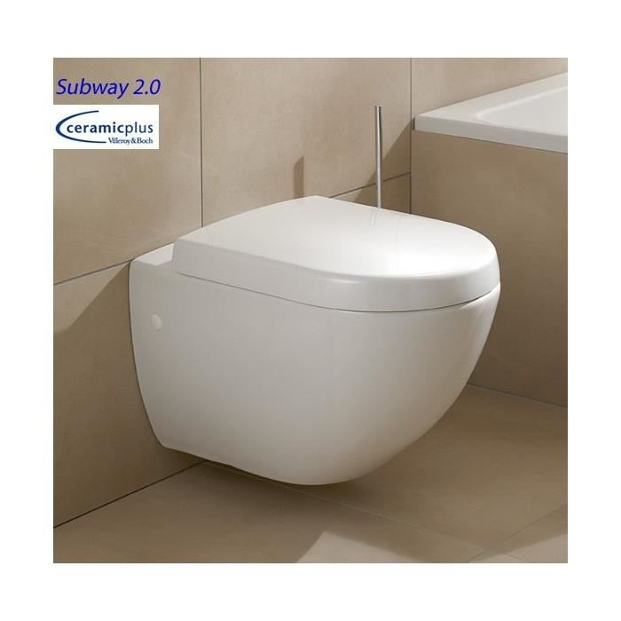 Ensemble cuvette wc suspendu villeroy et boch subway 2 0 ceramic plus abatt - Prix cuvette wc suspendu ...