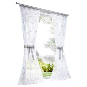 Cosics Rideau de fen/être Blanc Semi-Rideau Semi-Transparent d/écor/é de d/écorations de fen/être en Plumes 140 x 245 cm
