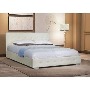 LIT COMPLET Lit adulte design Blanc capitonné IGOR 140x200 cm