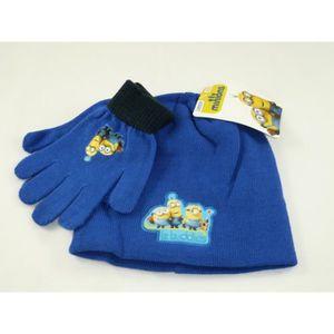 BONNET - CAGOULE Set bonnet et gants Minions, bleu pour enfant.