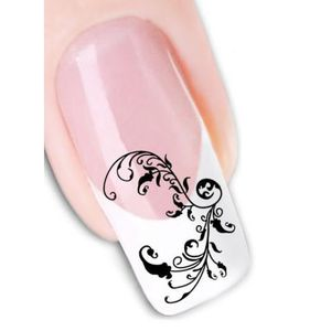 STICKERS - STRASS Stickers water decal pour les ongles fleur noire
