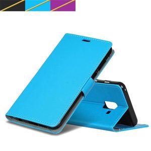 HOUSSE DE CHAISE Coque Samsung A6+ 2018, Bleu Cass Texture Folio Ho