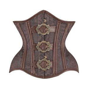 SUPPORT TAILLE - COUPE  Serre taille steampunk marron motif floral, sangle