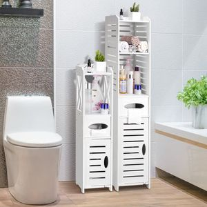 COLONNE - ARMOIRE WC LANGRIA Meuble WC étagère bois à 3 niveaux, Meuble