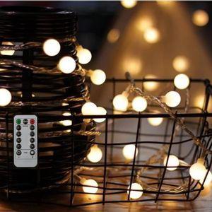 Guirlande lumineuse LED à Piles - 80 Ampoules - Blanc Chaud - 10 m