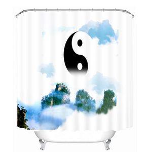 RIDEAU DE DOUCHE Rideau de douche zen au motif yin et yang 3D effec