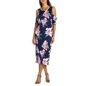 ROBE Mère femmes imprimé floral épaule froide robe du c