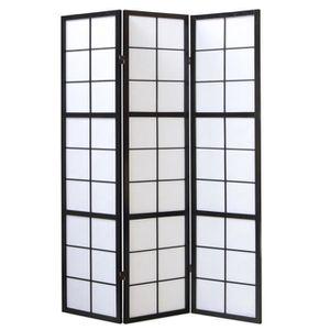 PARAVENT Paravent japonais grands carreaux bois noir et pap