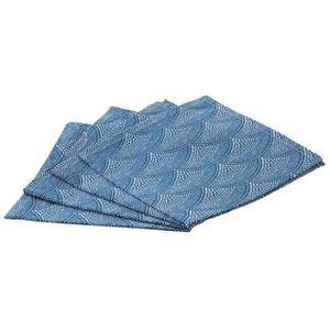 SERVIETTE DE TABLE Lot de 4 serviettes de table en coton bleues - Dim