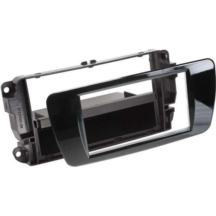 Adaptateur de façade 2-DIN avec vide poche Seat Ibiza 2008 > noir piano