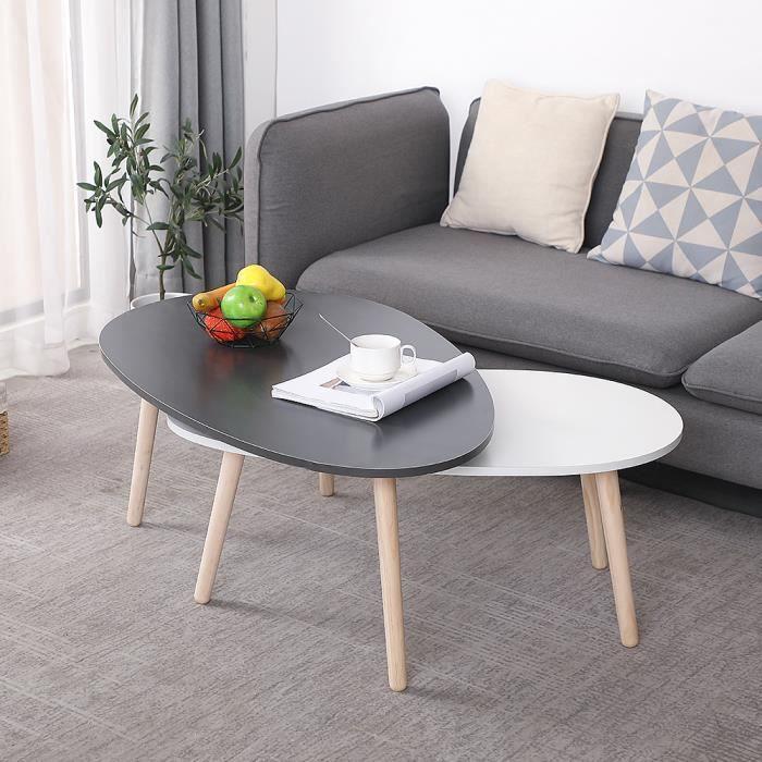 FAN Lot de 2 Table Basse Gigognes OVALE pour Salon, Bureau, Table d'appoint Design Scandinave Gris et Jaune