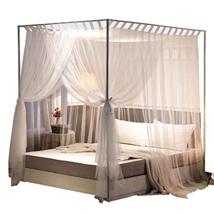 Ciel De Lit Bebe QATHL Simple 4 coins post rideau lit à baldaquin lit cadre auvents net, accessoires de décoration de chambre à couc