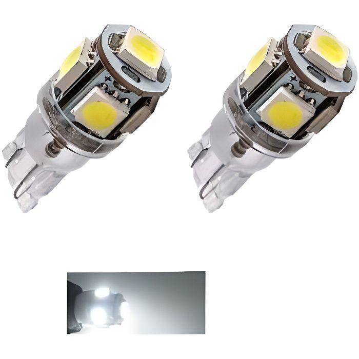 2X Ampoule T10 LED 24V Canbus 5 SMD W5W Blanc 6000K Pour Camion 4x4 Bateau