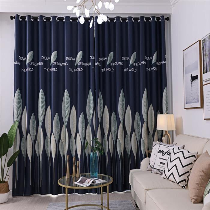 1x Rideaux à Oeillets Occultants 100x250cm décoration Salon Chambre Bleu foncé