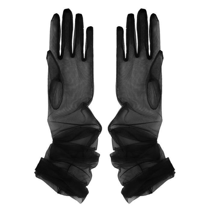 1 Paire Gants Mariage Transparent Tulle Maille Gants de Mariée Longues Mitaines Fête Accessoires Noir