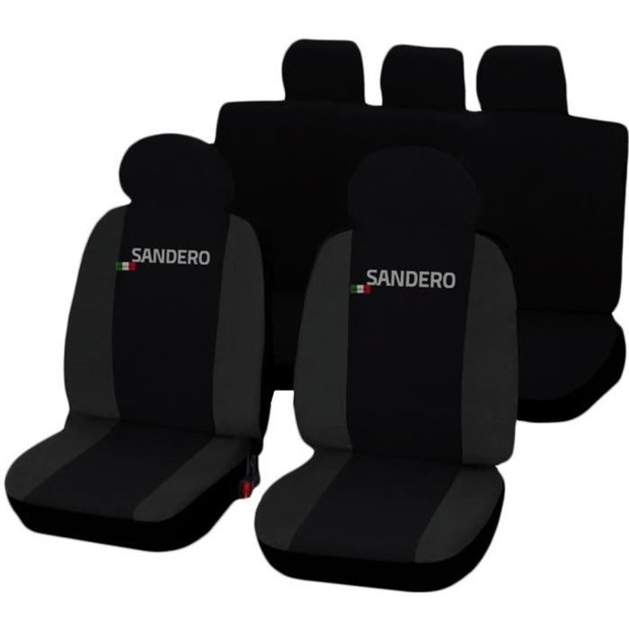 Housses de siège deux-colorés pour Dacia Sandero - noir gris foncè