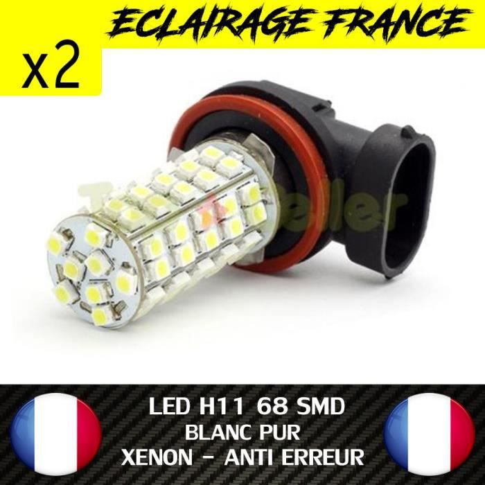 2 AMPOULE LAMPE H11 68 LED SMD FEU PHARE ANTIBROUILLARD XENON WHITE DRL