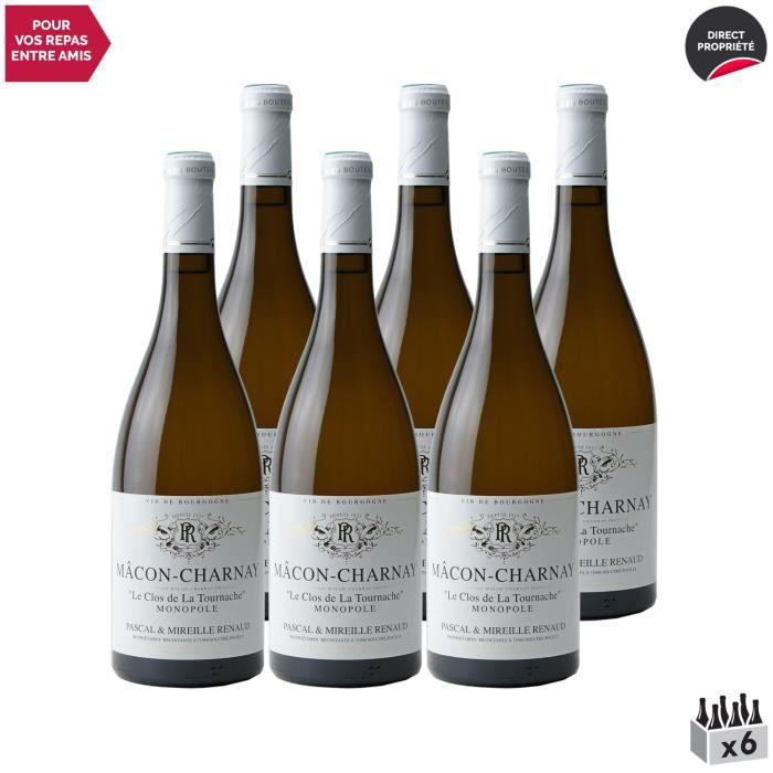 Mâcon Charnay-lès-Mâcon Le Clos de La Tournache Monopole Blanc 2020 - Lot de 6x75cl - Domaine Pascal Renaud - Vin AOC Blanc de Bour
