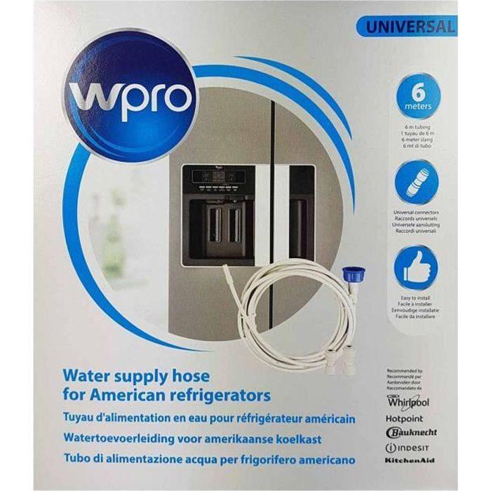 Kit tuyau d'alimentation en eau pour réfrigérateur américain avec raccords universels.