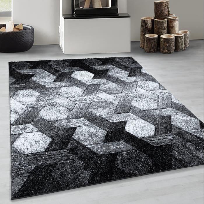 Tapis de salon à poils courts tapis motif hexagone tapis doux noir gris blanc [Argent, 160x230 cm]