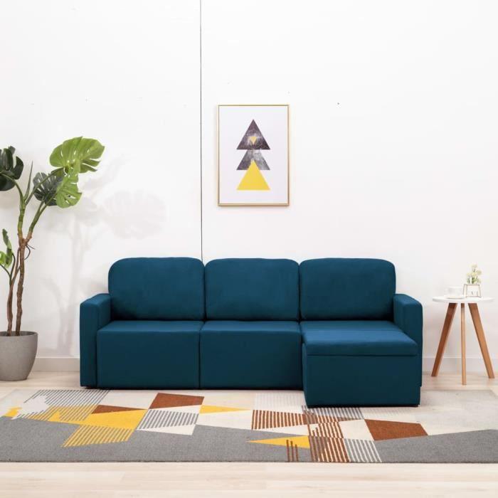 Canapé-lit modulaire 3 places 216 x 149 x 72 cmconvertible Canapé d'angle - Contemporain Sofa salon Confortable - Bleu Tissu