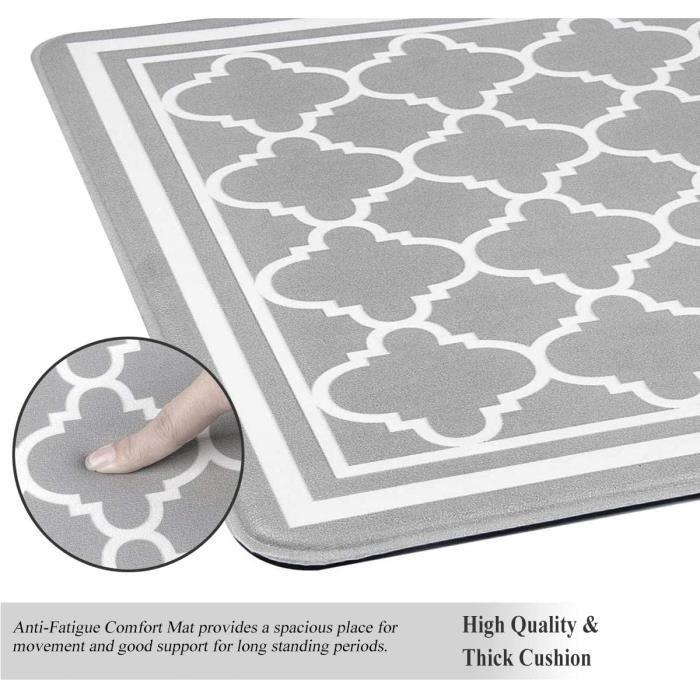 Lot de 2 Tapis de Cuisine PVC épais Antidérapants Imperméable Tapis de Sol de Cuisine Facile à Nettoyer Anti-Fatigue Confort T[225]