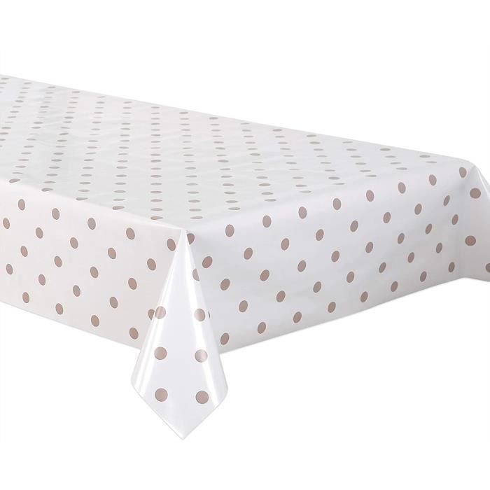 Nappe de table en toile cirée Couleur crème Pois beiges Nappe de jardin lisse et essuyable Forme ronde, ovale ou rectangulaire Ta489