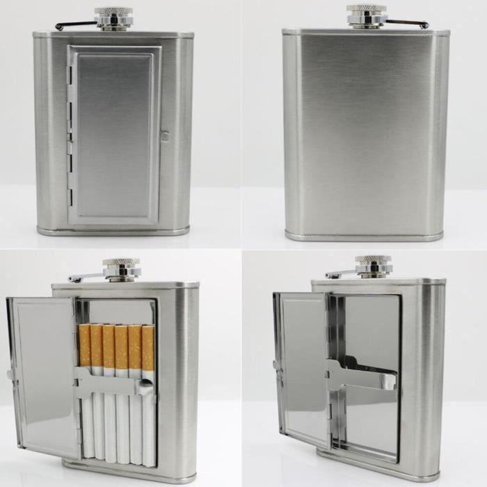 6oz Flasque Alcool Inox Acier Whisky Porte Boîte Cigarettes Cigare Etui Coffret La30710