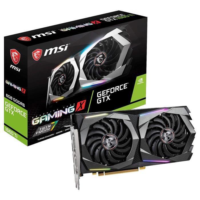 MSI GeForce GTX 1660 Ti Gaming X 6G 6 Go GDDR6 - Cartes Graphiques (GeForce GTX 1660 Ti, 6 Go, GDDR6, 192 bit, 7680 x 4320 Pixels