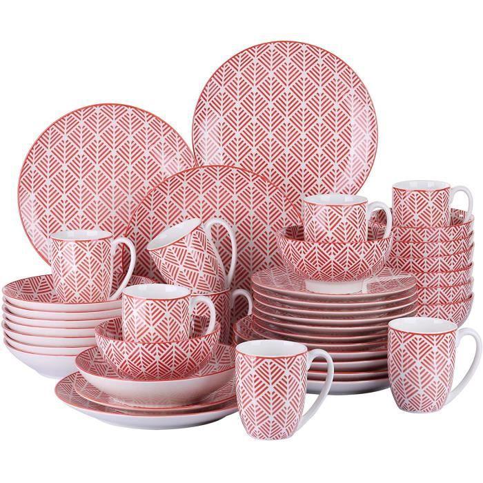 vancasso, série MOMOKO, Service de Table Complet en Porcelaine, Assiette Bols 40 pièces , Style Japonais ROUGE