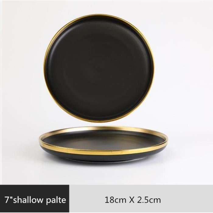 Assiette,Ensemble d'assiettes à dîner en porcelaine noire à bord doré,vaisselle en céramique - Type 7 inch Shallow plate
