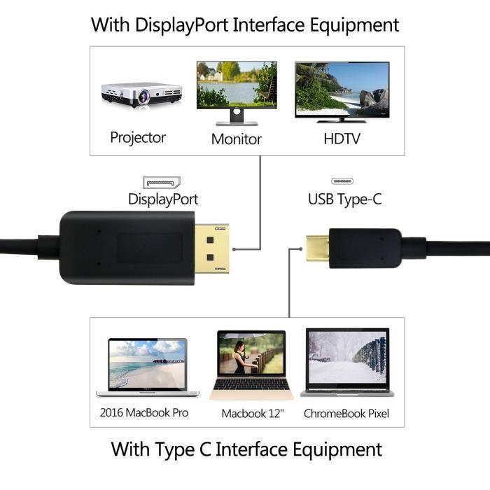 Cabling Câble Usb C Vers Displayport (1.8m), 4K@60Hz Câble Type C Usb 3.1 Vers Dp(Thunderbolt 3 Compatible) Pour 2016 Macbook Pro,