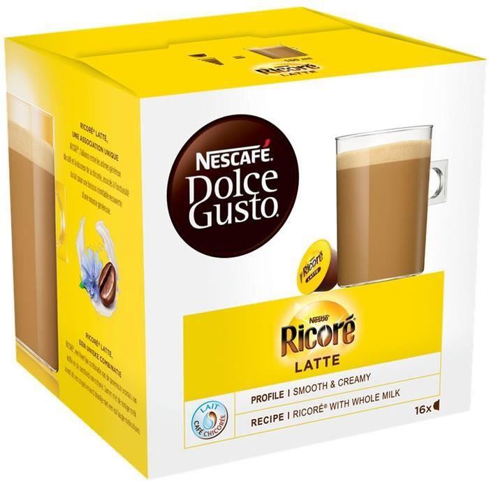 LOT DE 10 - Dolce Gusto - 16 Capsules de Ricoré au lait latte 168 g