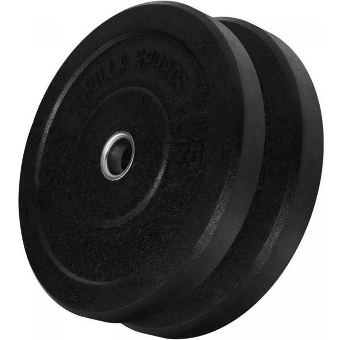 Poids disques olympiques Hi Temp avec absorbeur de chocs - Noir - 10 kg