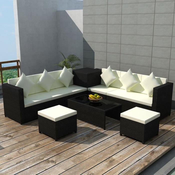 Haute qualité Jeu de canapé de jardin 26 pcs Noir Résine tressée