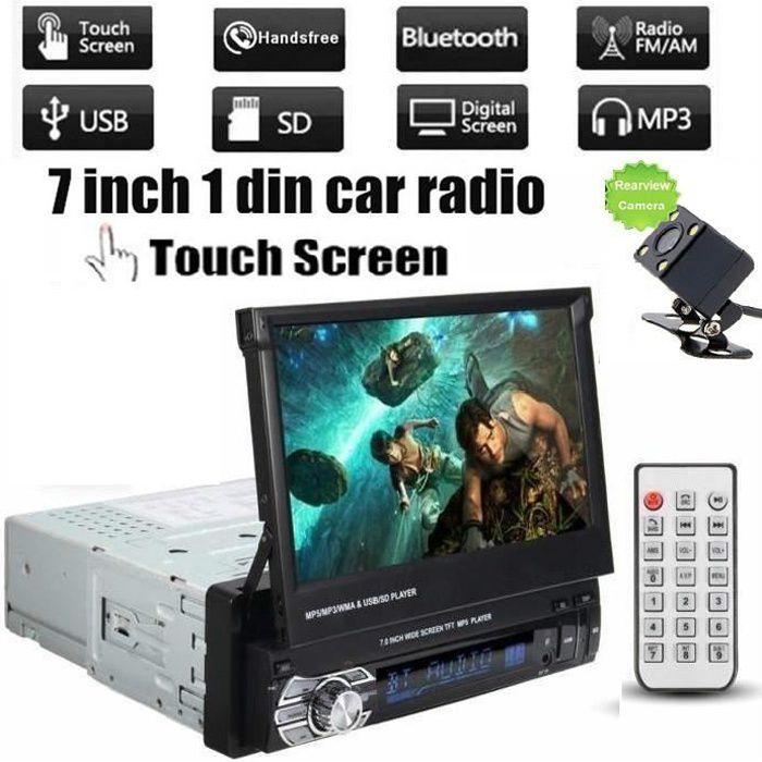12V 7 pouces rétractable écran tactile moniteur voiture Bluetooth 1 DIN voiture radio FM Autoradio MP5 Player avec caméra arrière