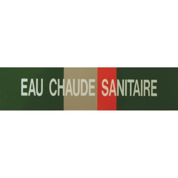 Etiquette eau chaude sanitaire 200x50x10mm paquet de 5 pièces Réf 215503 SELF CLIMAT