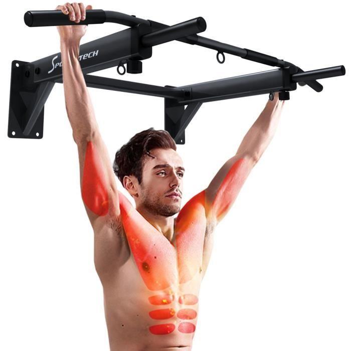 Sportstech Barre de Traction Fixation Murale KS300 Musculation Fitness 3 Anneaux pour TRX, Punching-Ball, élingues poignées antid