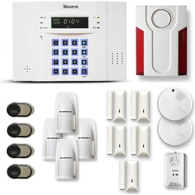 Alarme maison sans fil DNB 4 à 5 pièces mouvement + intrusion + détecteur de fumée + gaz + sirène extérieure - Compatible Box intern