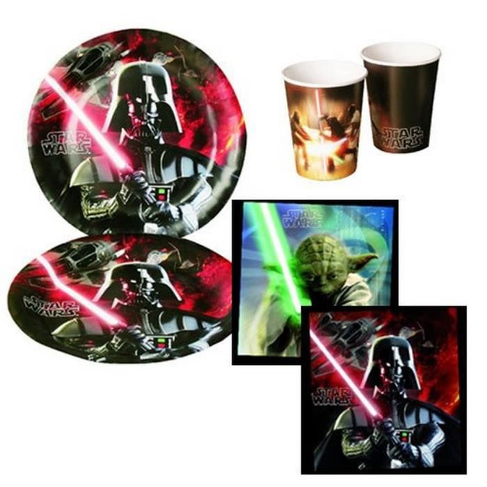 kit d coration anniversaire star wars pour 8 achat. Black Bedroom Furniture Sets. Home Design Ideas